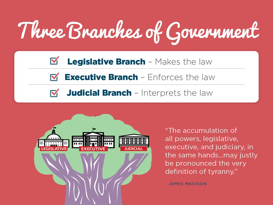 Briefly highlight the three branches and the corresponding responsibilities of each.