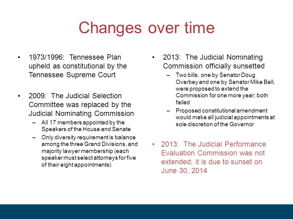 Changes over time 1973/1996: Tennessee Plan upheld as constitutional by the Tennessee Supreme Court.