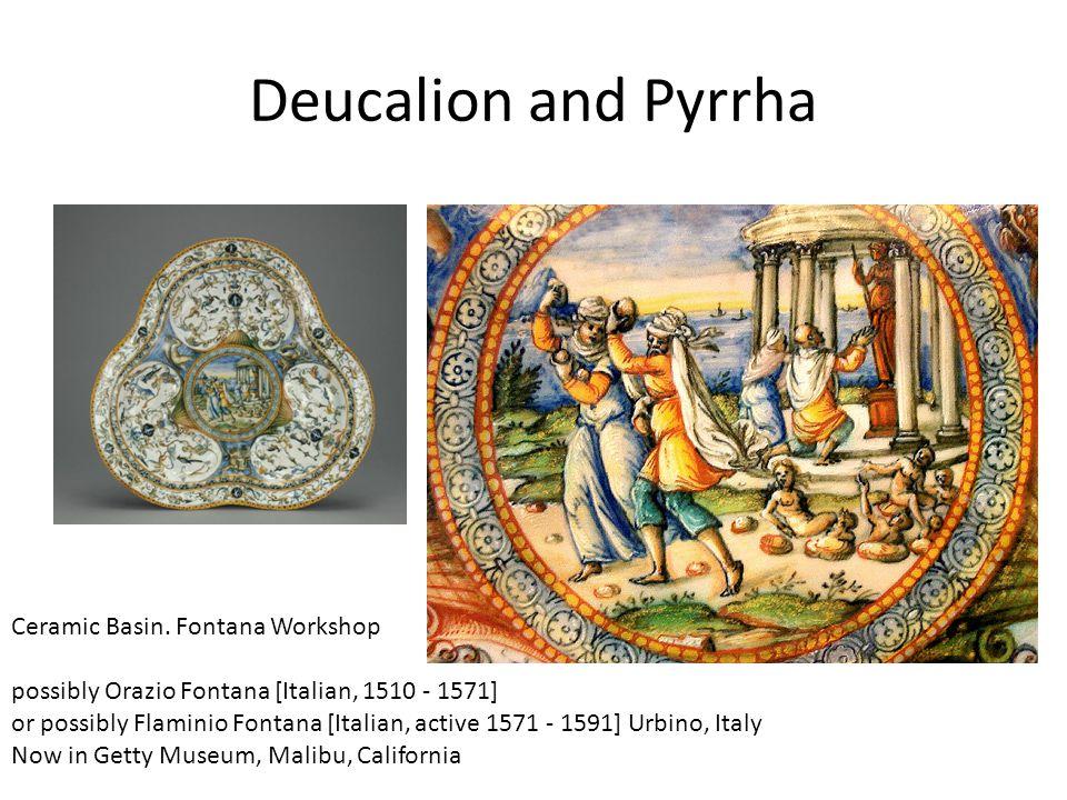 Deucalion and Pyrrha Ceramic Basin. Fontana Workshop