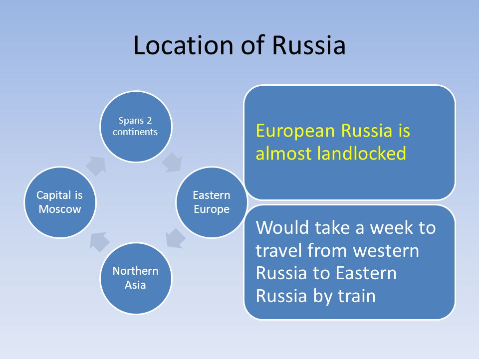 Location of Russia Spans 2 continents Eastern Europe Northern Asia