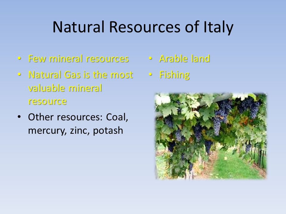 Natural Resources In Southern Italy