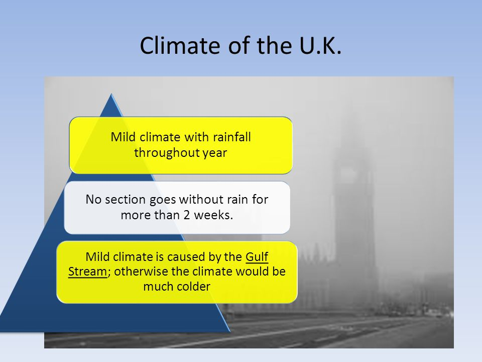 Climate of the U.K. Mild climate with rainfall throughout year