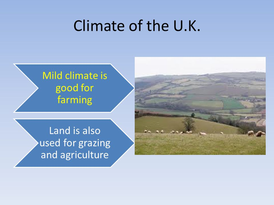 Climate of the U.K. Mild climate is good for farming