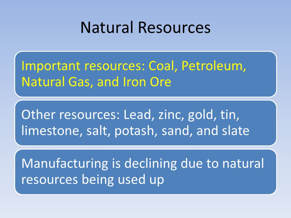 Natural Resources Important resources: Coal, Petroleum, Natural Gas, and Iron Ore.
