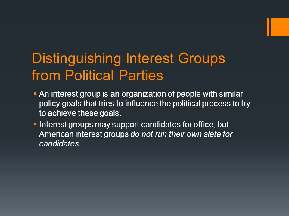 Distinguishing Interest Groups from Political Parties