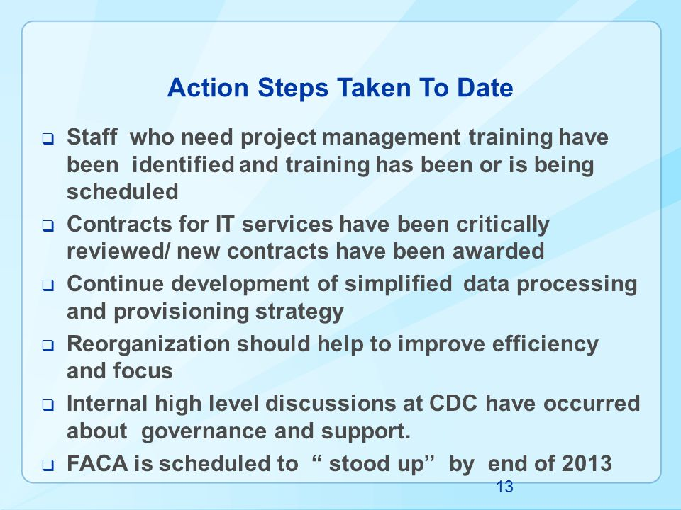 Action Steps Taken To Date