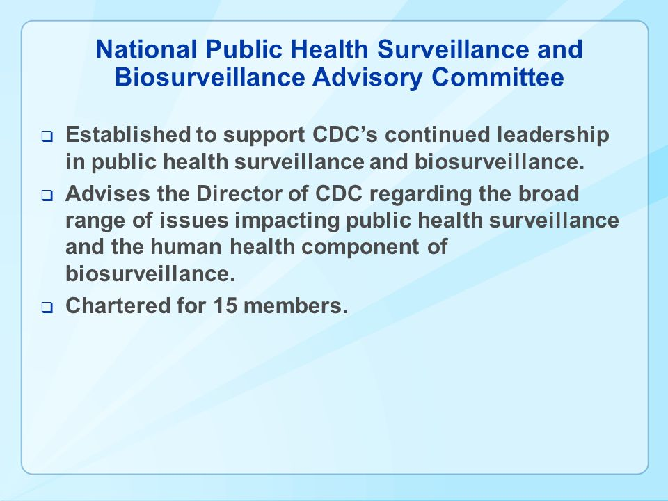 National Public Health Surveillance and Biosurveillance Advisory Committee