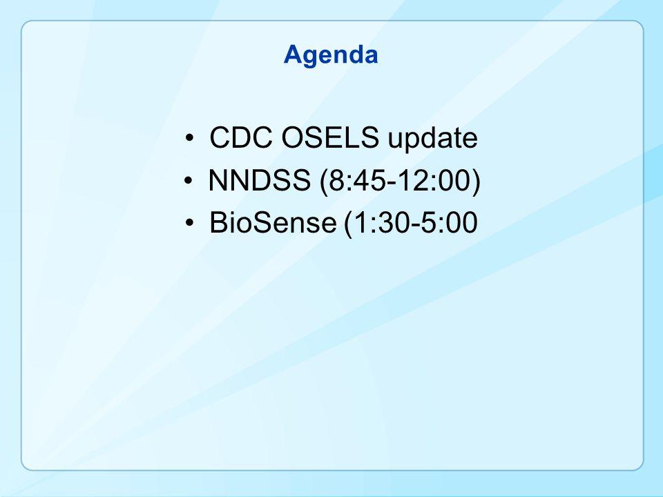 Agenda CDC OSELS update NNDSS (8:45-12:00) BioSense (1:30-5:00