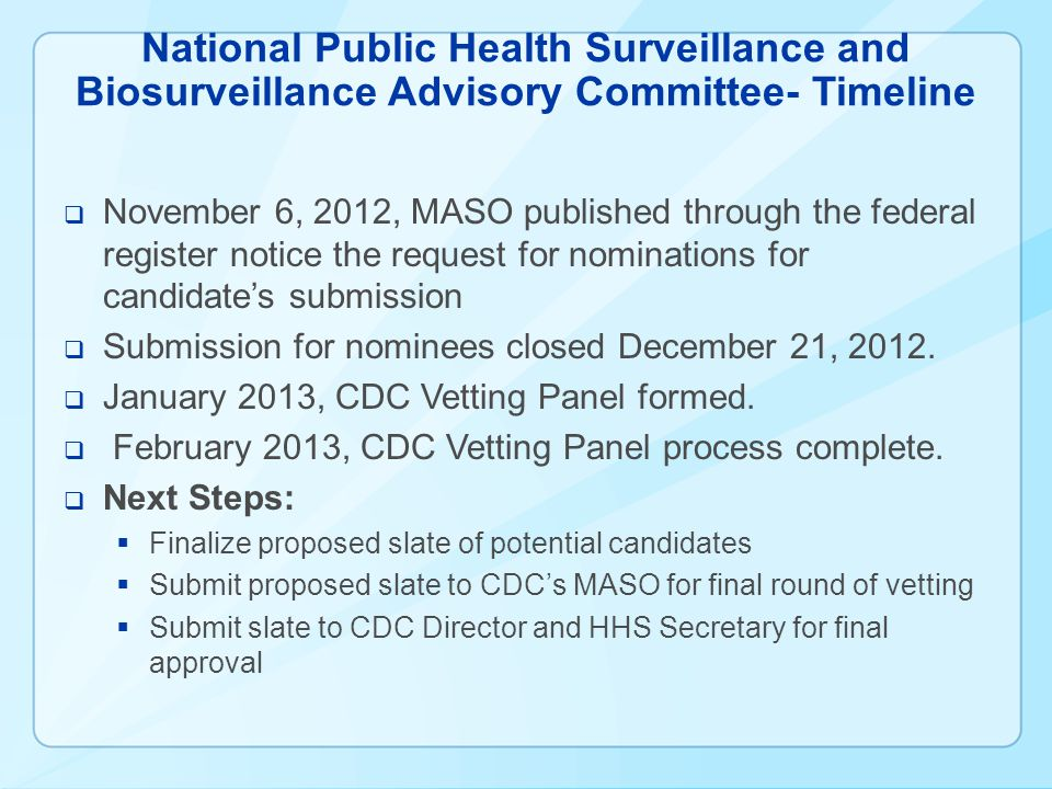 National Public Health Surveillance and Biosurveillance Advisory Committee- Timeline