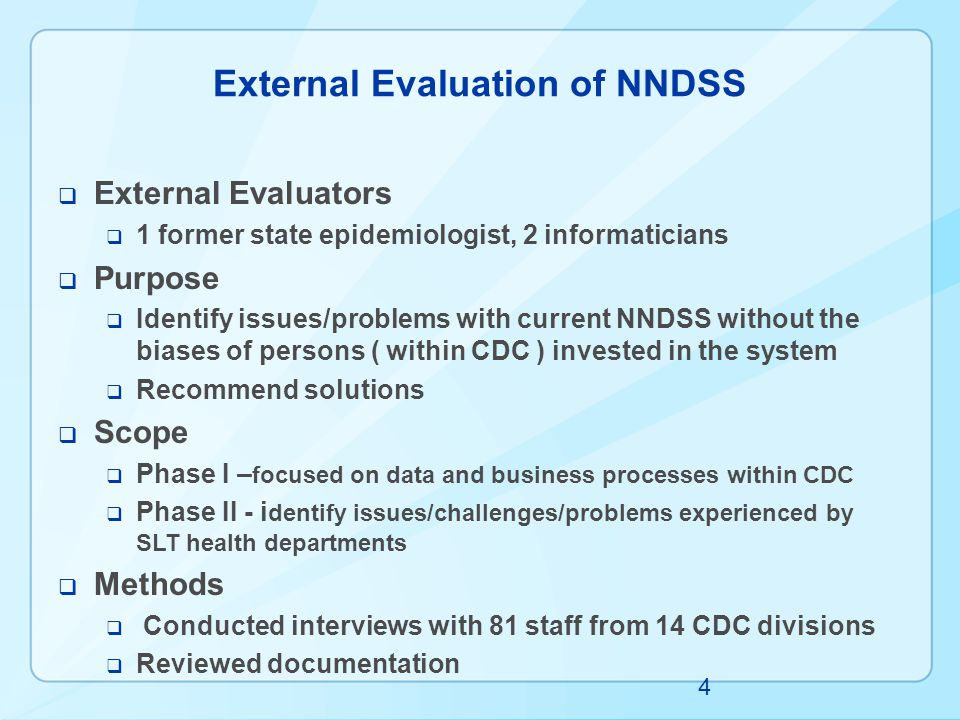 External Evaluation of NNDSS