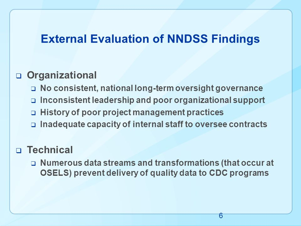 External Evaluation of NNDSS Findings