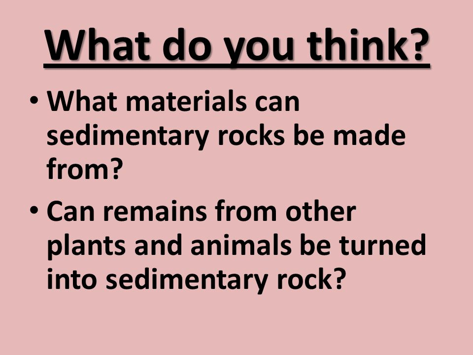 What do you think What materials can sedimentary rocks be made from