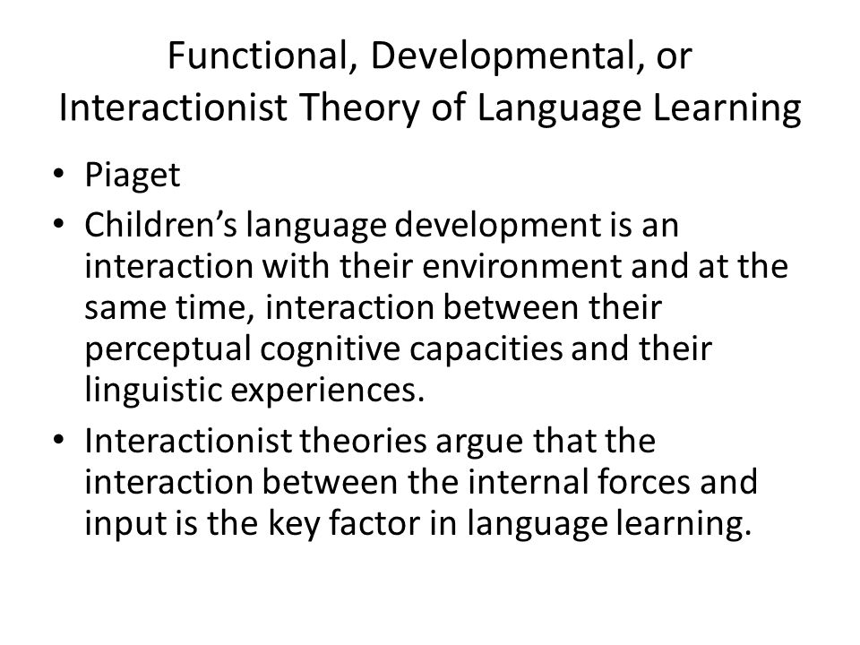 Functional, Developmental, or Interactionist Theory of Language Learning