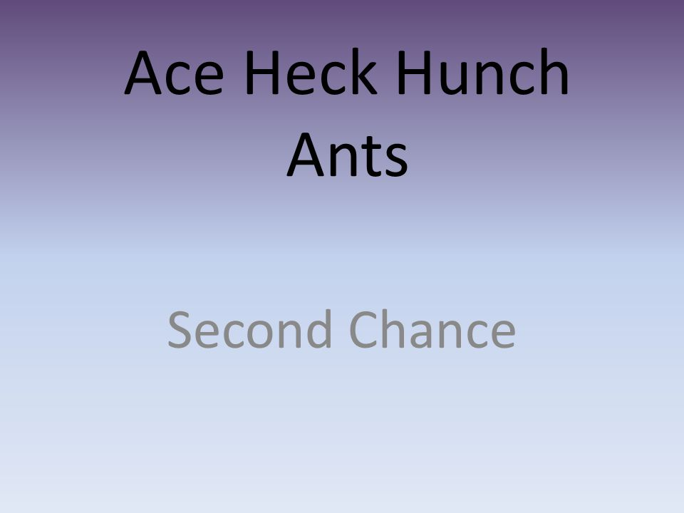 Ace Heck Hunch Ants Second Chance