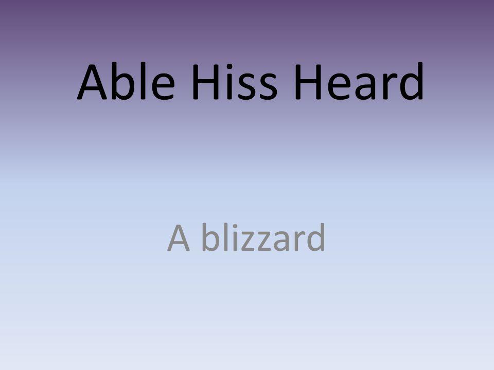 Able Hiss Heard A blizzard