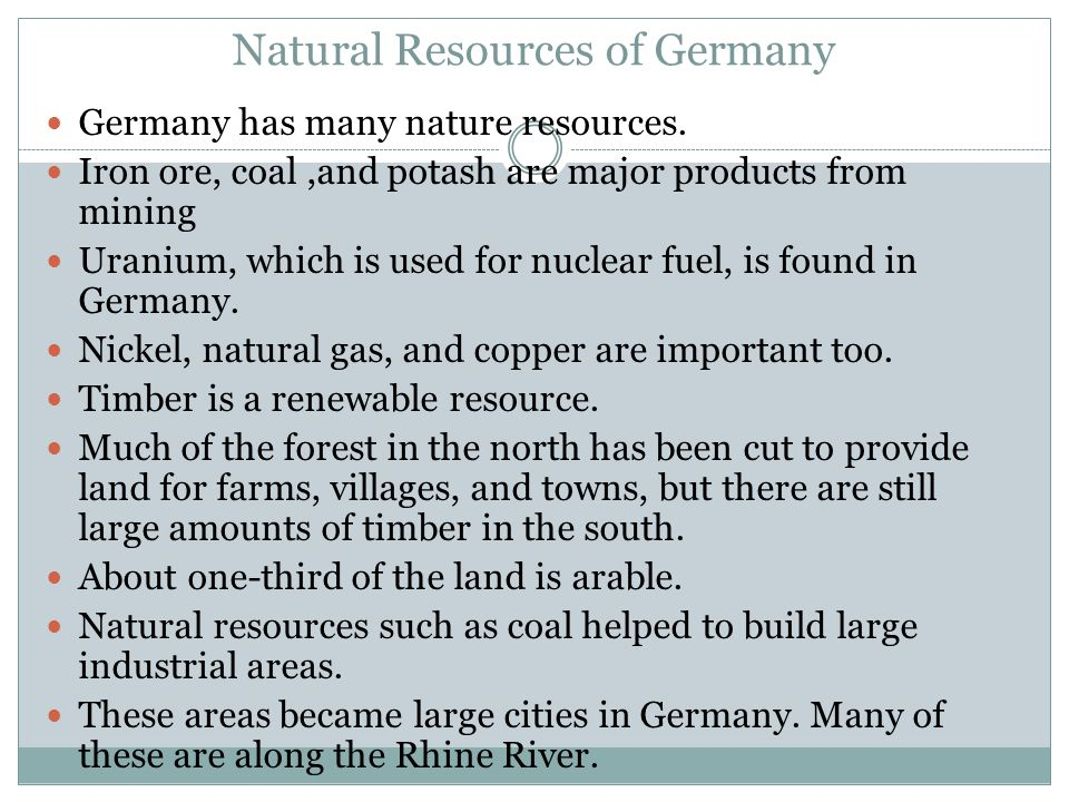 Natural Resources of Germany
