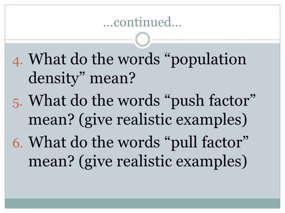 What do the words population density mean