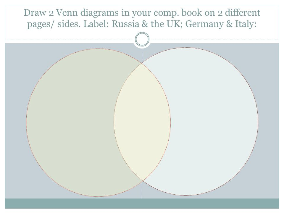Draw 2 Venn diagrams in your comp. book on 2 different pages/ sides