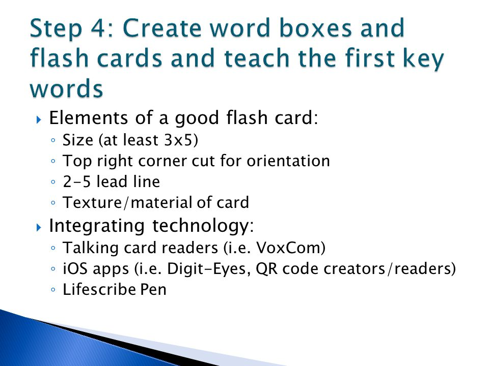 Step 4: Create word boxes and flash cards and teach the first key words