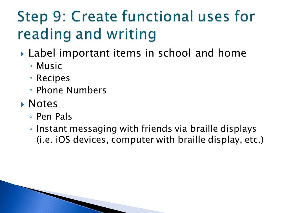 Step 9: Create functional uses for reading and writing