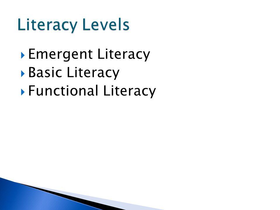 Literacy Levels Emergent Literacy Basic Literacy Functional Literacy