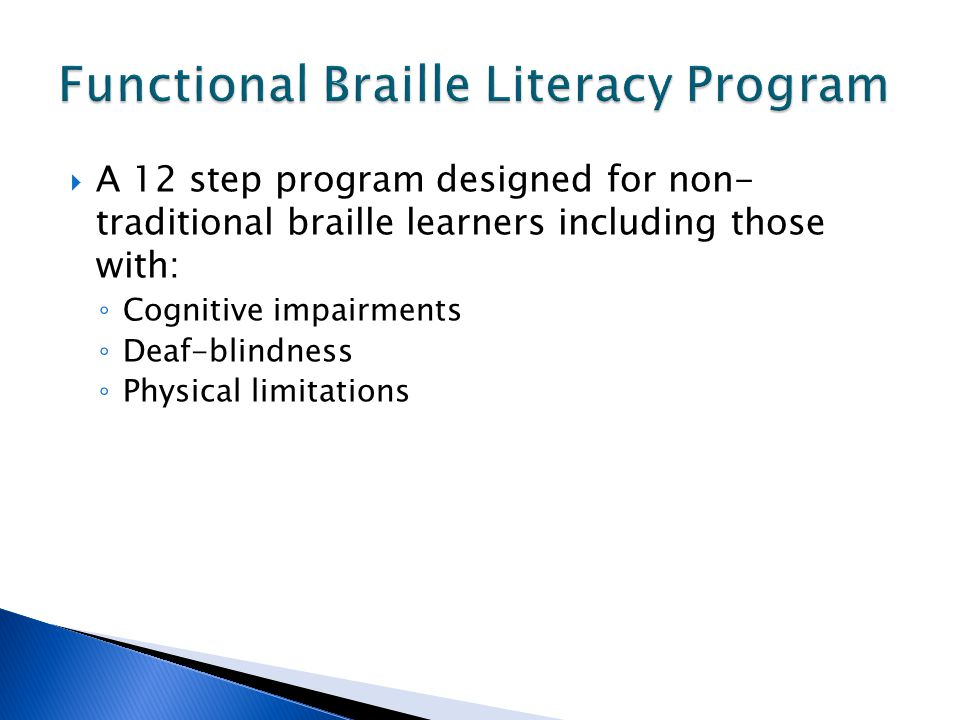 Functional Braille Literacy Program