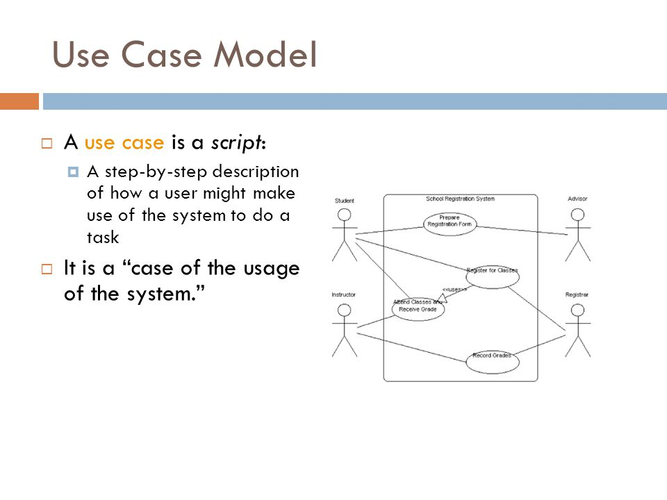 Use Case Model A use case is a script: