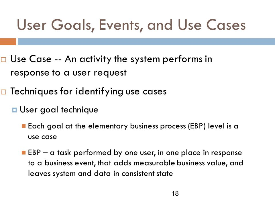 User Goals, Events, and Use Cases