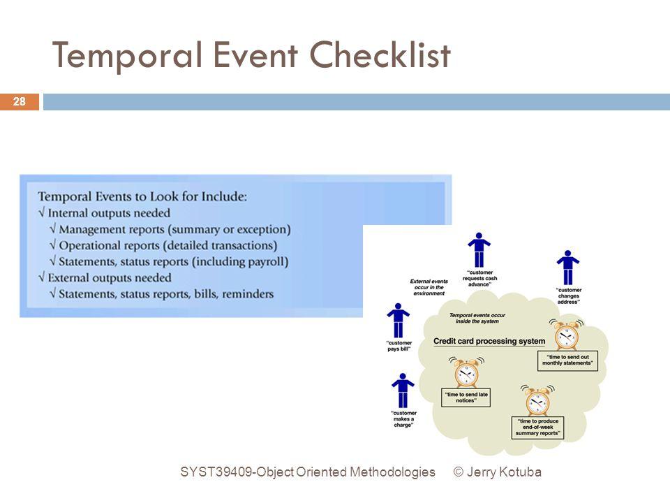 Temporal Event Checklist