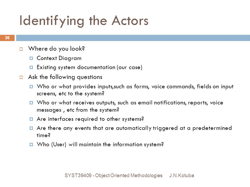 Identifying the Actors