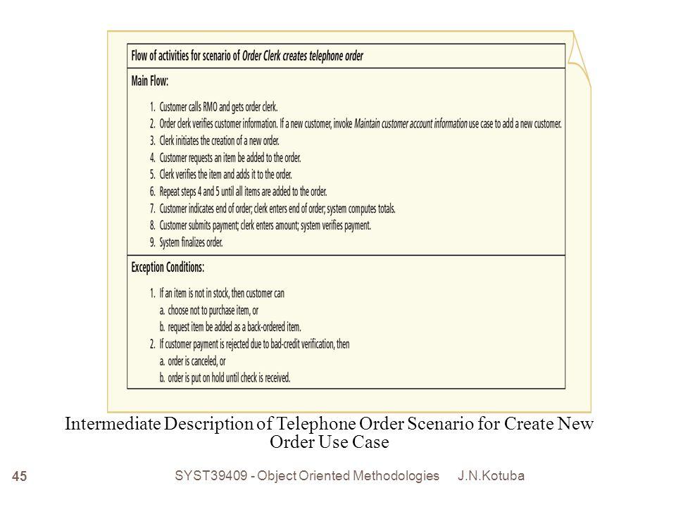 Intermediate Description of Telephone Order Scenario for Create New Order Use Case