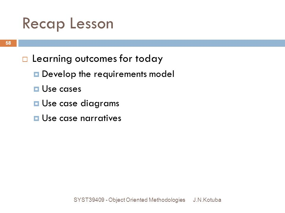 Recap Lesson Learning outcomes for today