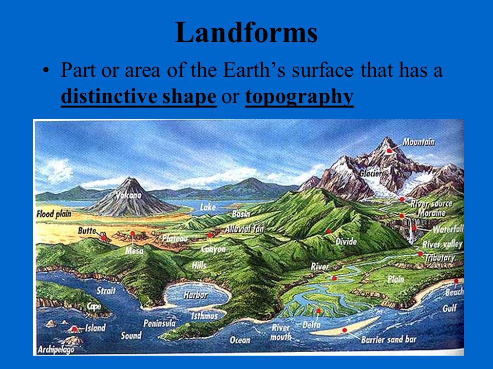Landforms Part or area of the Earth's surface that has a distinctive shape or topography