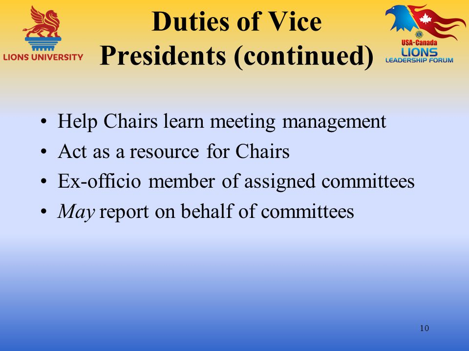 Duties of Vice Presidents (continued)