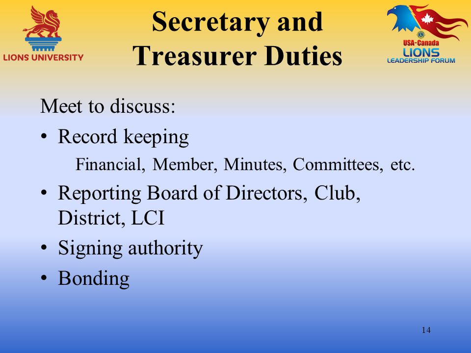 Secretary and Treasurer Duties