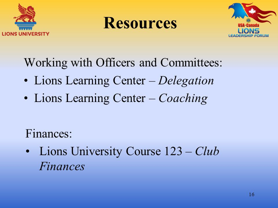 Resources Working with Officers and Committees: