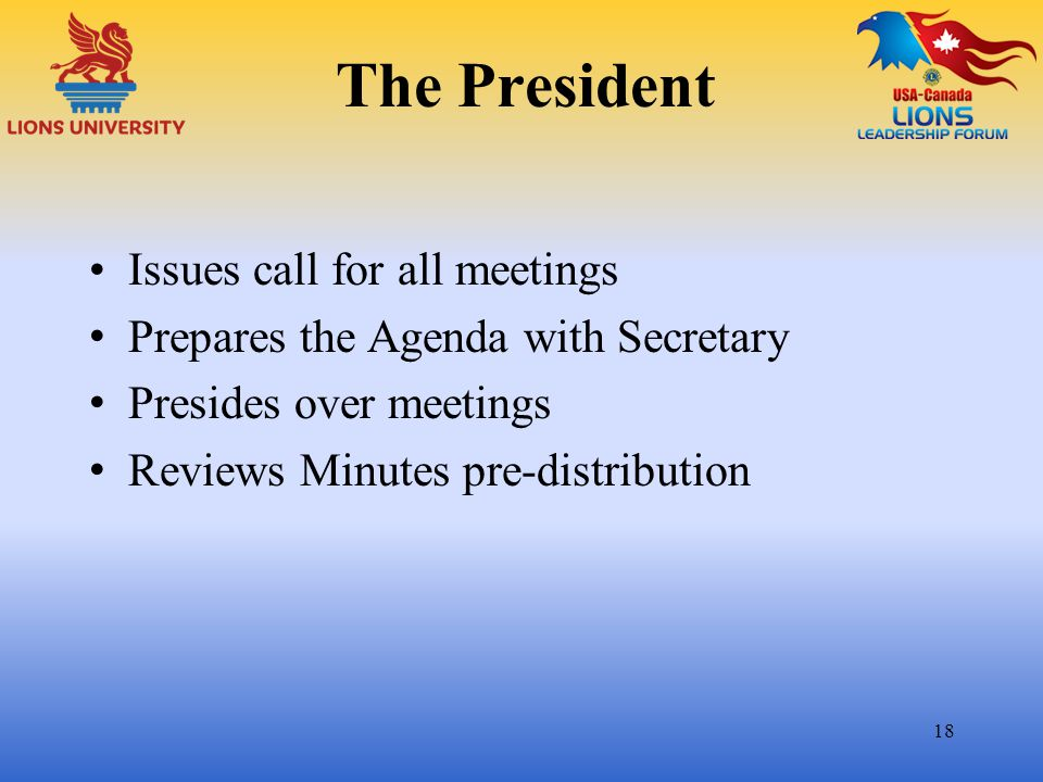 The President Issues call for all meetings