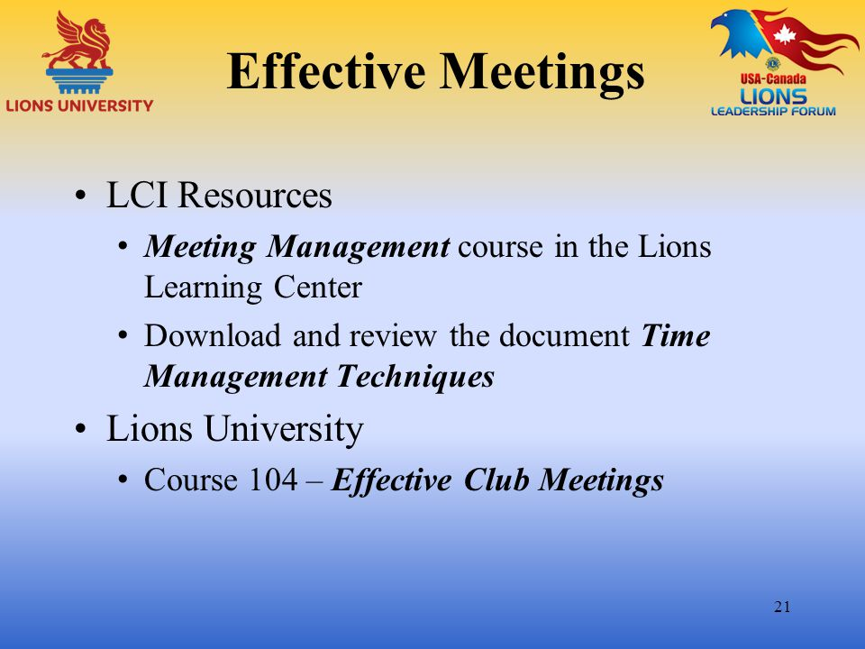 Effective Meetings LCI Resources Lions University