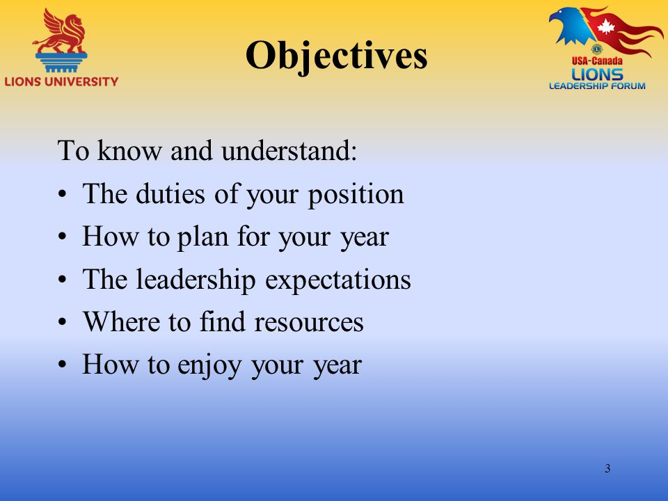 Objectives To know and understand: The duties of your position