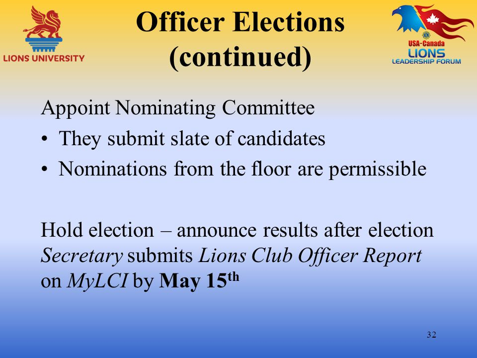Officer Elections (continued)