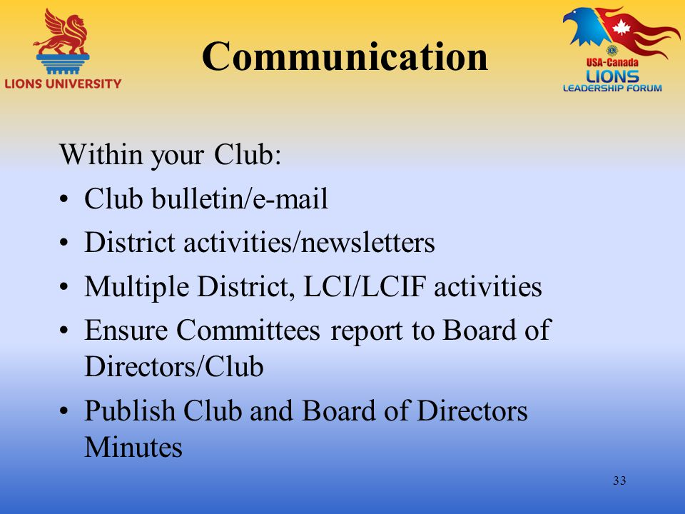 Communication Within your Club: Club bulletin/e-mail