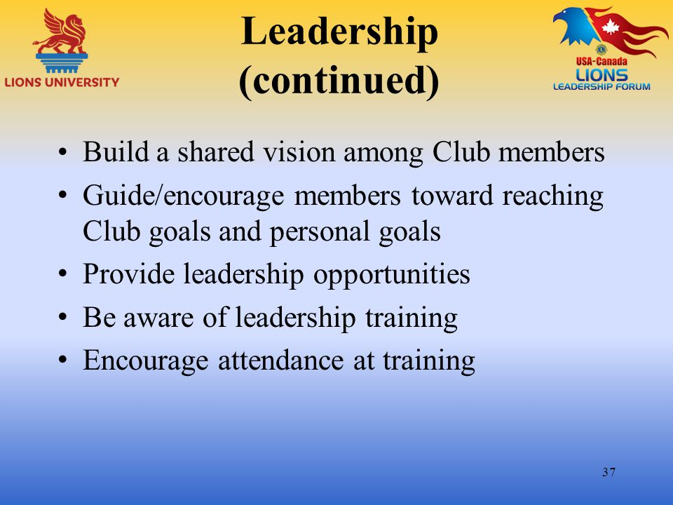 Leadership (continued)