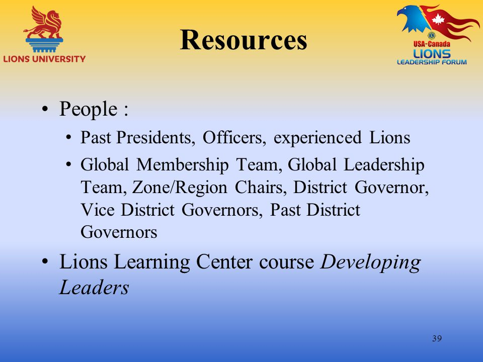 Resources People : Lions Learning Center course Developing Leaders