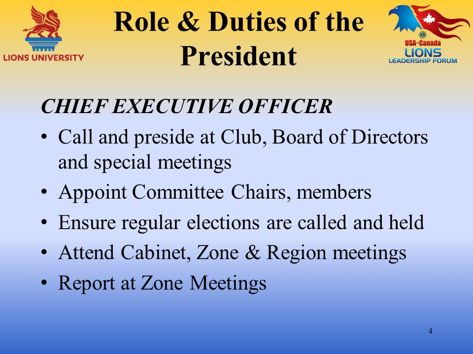 Role & Duties of the President