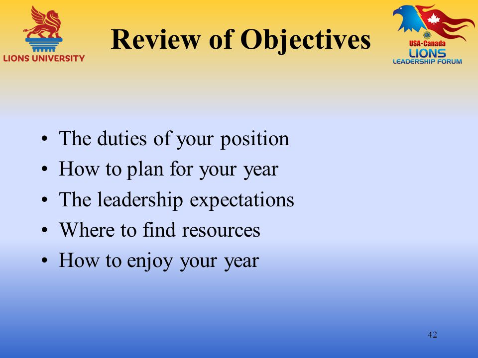 Review of Objectives The duties of your position