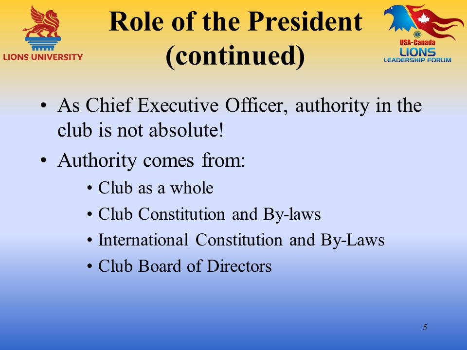 Role of the President (continued)