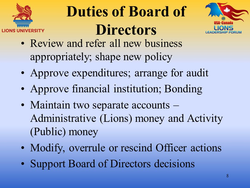 Duties of Board of Directors