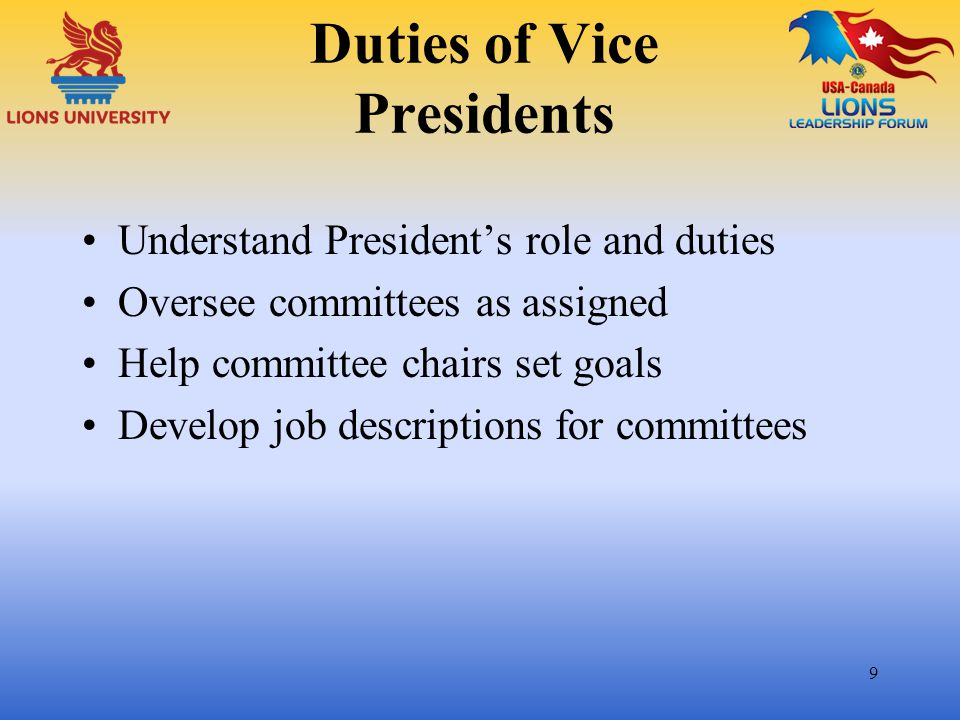 Duties of Vice Presidents