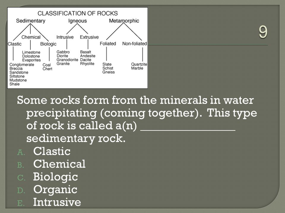 9 Some rocks form from the minerals in water precipitating (coming together). This type of rock is called a(n) ________________ sedimentary rock.