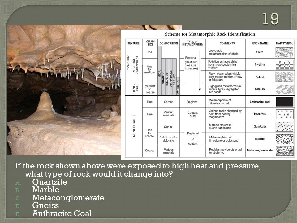 19 If the rock shown above were exposed to high heat and pressure, what type of rock would it change into